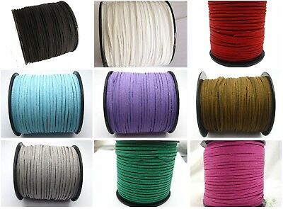 100 Yards Faux Suede Flat Leather Cord Lace String 3mm Spool Pick Your Color