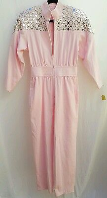 NEW Vtg 80s Womens Sz 10 Pink Cotton Jumpsuit Silver Studded One Piece Romper