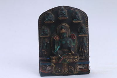 Exquisite Chinese hand carving Buddha Turquoise Fokan Tibet statue BB343
