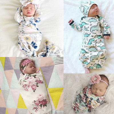 Newborn Baby Infant Knit Crochet Swaddle Wrap Swaddling Blanket Sleeping Wrap