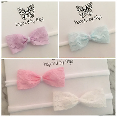 1x Headband Baby Girl Toddler Newborn Small Lace Bow Nylon Hair Band Accessories
