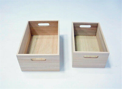 2pcs Rustic Wooden Apple Crate Tray Container Wine Storage Organizer Home Decor