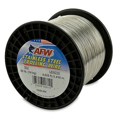 American Fishing Wire Stainless Steel Trolling Wire, 14kg Test/0.51mm Dia/1409m