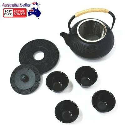 Japanese Style Cast Iron Tea Pot Set 4 Cups Trivet Hobnail Kettle Teapot Black