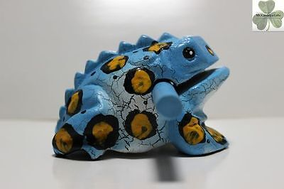 Frog, Guiro Rasp, Wooden Musical Toy, Blue with Black/Yellow Spots 4 inch size