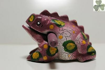 Frog, Guiro Rasp, Wooden Musical Toy, Purple with Green/Yellow Spots 4 inch size