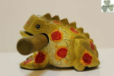 Frog, Guiro Rasp, Wooden Musical Toy, Avocado with Yellow/Red Spots 4 inch size