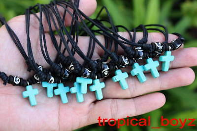 10 Handmade Small Kid Girl BLUE CROSS with Wood Bone Beads Necklaces Wholesale