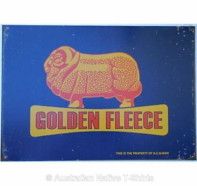 Golden Fleece Ram on Blue Tin Sign (50cm x 35cm) - Golden Fleece Collectable