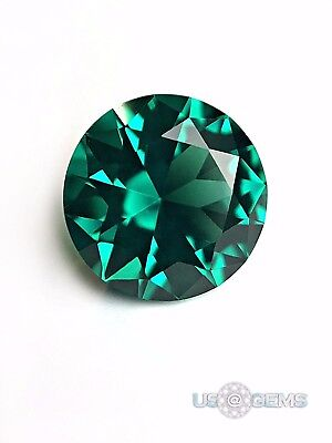 Emerald Bluish Green #117 Round 8 mm. 2 ct. SIAMITE Created Gemstone US@GEMS