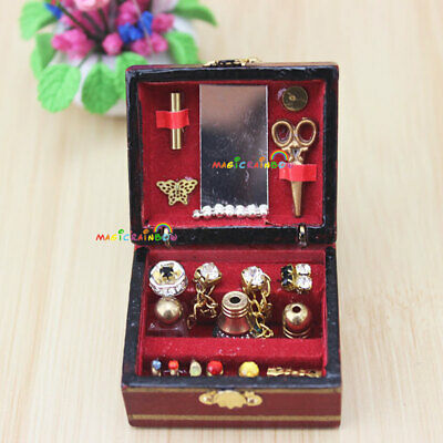Vintage Jewelry Box Dressing Case Makeup Cosmetic 1:12 Dollhouse Miniatures Wood