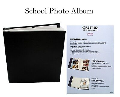 Black School Years Leather Album Scrapbook Drymount and Slip In Photo 6x 4 & A4