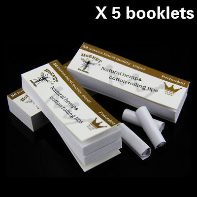 5 x Hornet Rolling Paper Filter Tips 50 leaves 60*21MM Natural White Unrefined