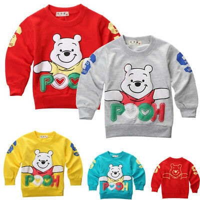 Toddler Infant baby Boy Girl Cartoon Winnie Coat Cotton Clothes Warm Tops Shirts