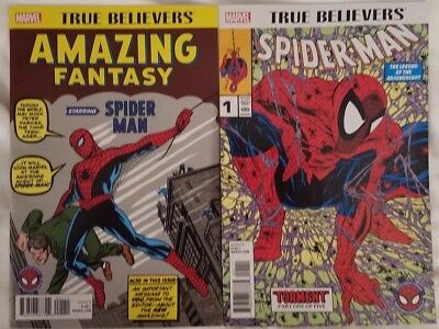 True Believers Amazing Fantasy #15 and Spider-Man #1 Marvel Comics