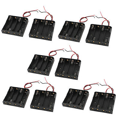 Wired 4 x 1.5V AA Battery Holder Plastic Case Storage Box 10 Pcs Black New