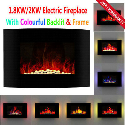 Wall Mounted Electric Fireplace LED Fire Flame Backlit Black Curve Glass Heater