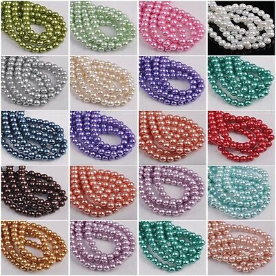 Wholesale Glass Pearl Round Spacer Loose Beads 4mm/6mm/8mm/10mm For Jewelry DIY
