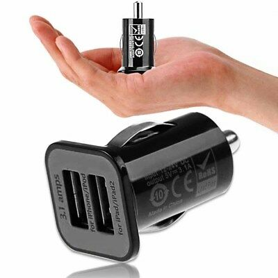 3A Mini Dual 2 Port USB Car Cigarette Lighter Charger Adapter for Phone Black
