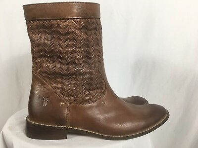 FRYE Shirley Studded Huarache Short Brown Leather Ankle Boots Size 8 Woven