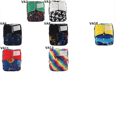ALL IN ONE Bamboo Baby Cloth Diaper Nappy Hook and Loop Built in 4 layer Insert