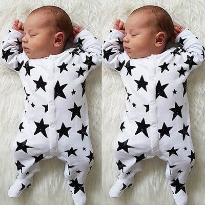AU Stock Newborn Baby Boy Girl Cotton Romper Jumpsuit Bodysuit Clothes Outfits