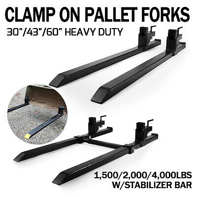 HD 1500/2000/4000lbs Clamp on Pallet Forks Loader Bucket Tractor Stabilizer Bar