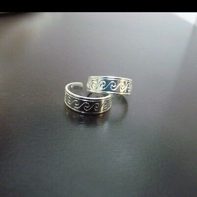 Silver Toe Ring Adjustable Carved Wave Pinky Ring *oz Stock*