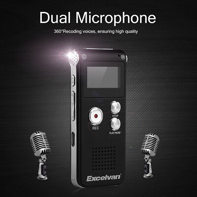Digital LCD USB Voice Recorder 8GB Dictaphone WAV MP3 Player Noise Reduction UK