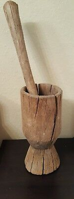 EARLY Antique Primitive Wooden MORTAR and PESTLE - Great Patina