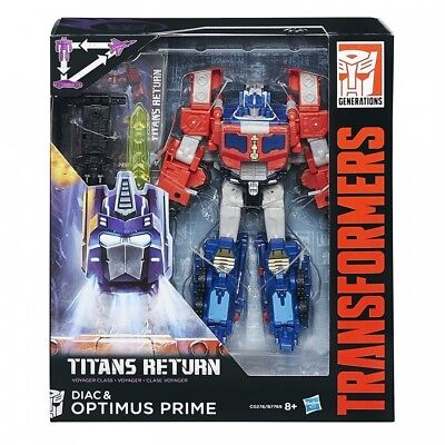 Transformers Generations Titans Return Voyager Class Optimus Prime and Diac F...