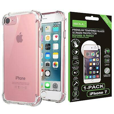 Transparent Clear Silicone Slim Gel Case With Screen Protector For iPhone Models