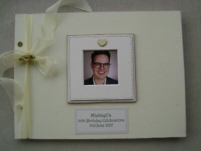 Personalised Linen 30Th Birthday Guest Book A4 Size With Box..photo Insert