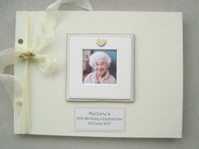 Personalised Linen 90Th Birthday Guest Book A4 Size With Box..photo Insert