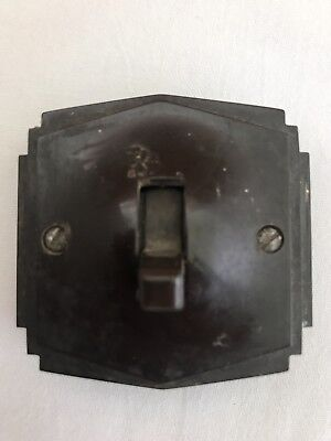 Vintage Tenby Pilot Light Switch With Wooden Back Plate