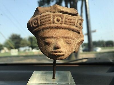 Pre-Columbian Aztek Myan Pottery Head On Stand