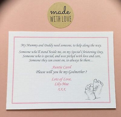 Will You Be My Godparent Card, Godmother, Godfather, Christening Day Card, Gift