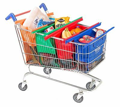 Set of 4 Reusable Shallow Supermarket Grocery Shopping Trolley Bags