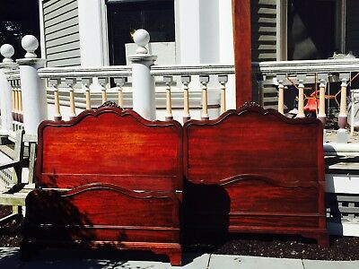 Pair of Mahogany Twin bed frames, antique, beautiful condition