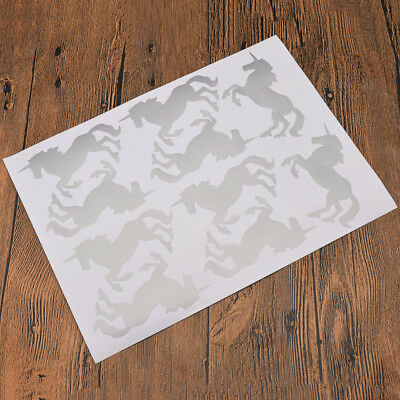 1 Sheet Silver Unicorn Wall Sticker Dining Room Bedroom Decal Home Decor