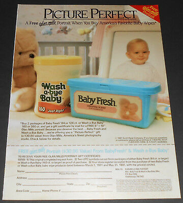 1991 vintage print ad - BABY FRESH & WASH A-BYE BABY WIPES - 1 PAGE AD diapers