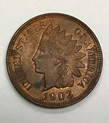 1903 P Indian Cent - AU/UNC Slider - Penny - Nice SCARCE Coin with full liberty
