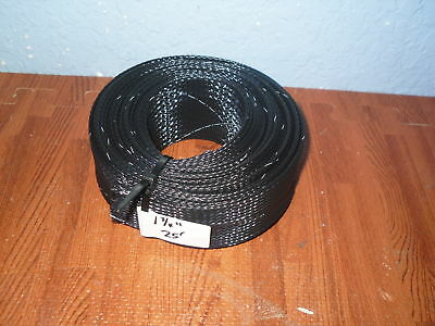 """Yacht Grade 25' 1 3/4"""" Expandable Braid Braided Wire Cable Loom Sleeve Sleeving"""