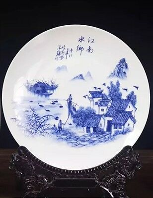 Exquisite Hand Painted Chinese Display Plate Jiang Nan's Fishermans On Boat