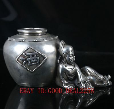 "Old Silver Copper Hand Carved Pot,""Li Bai the Poetry Immortal statue""   诗仙李白"