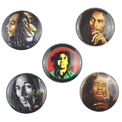 "5 x Bob Marley New Official 25mm (1"") Button Pin Badge Set"