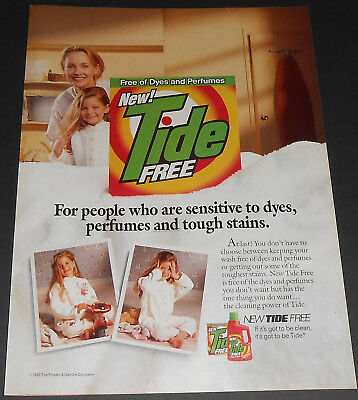 1992 vintage print ad - TIDE - FREE DETERGENT - LITTLE GIRL - 1 PAGE ADVERT cute