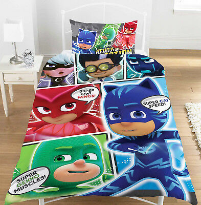 PJ Masks Comic Kids Single Duvet Quilt Cover Reversible Bedding Set Polycotton