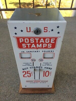 Vintage U.S. Postage Stamp Vending Machine 10 & 25 Cent  Machine Mint Cond