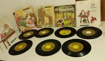 Lot of Childrens Read Along Books with Records Vintage